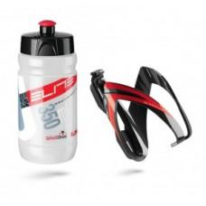 Butelka+ uchwyt Elite Kit Ceo 350ml, klar/czerw+ czarny/czerw