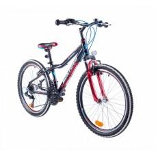 """Monteria rower Junior 24"""" - czarno-czerwony"""